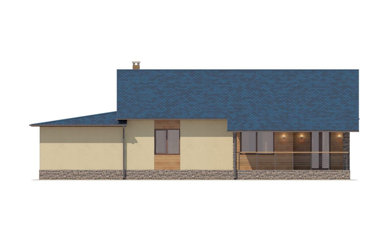 Фасад одноэтажного дома с гаражом и террасой «КО-65» - сзади