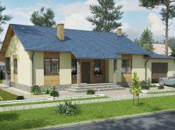 Проект одноэтажного дома с гаражом и террасой «КО-65»