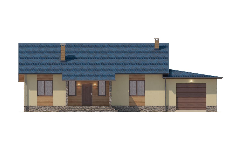 Фасад одноэтажного дома с гаражом и террасой «КО-65» - спереди