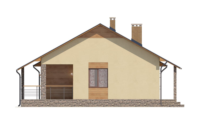 Фасад одноэтажного дома с гаражом и террасой «КО-65» - слева