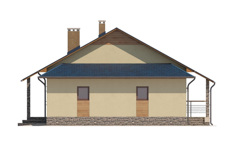 Фасад одноэтажного дома с гаражом и террасой «КО-65» - справа