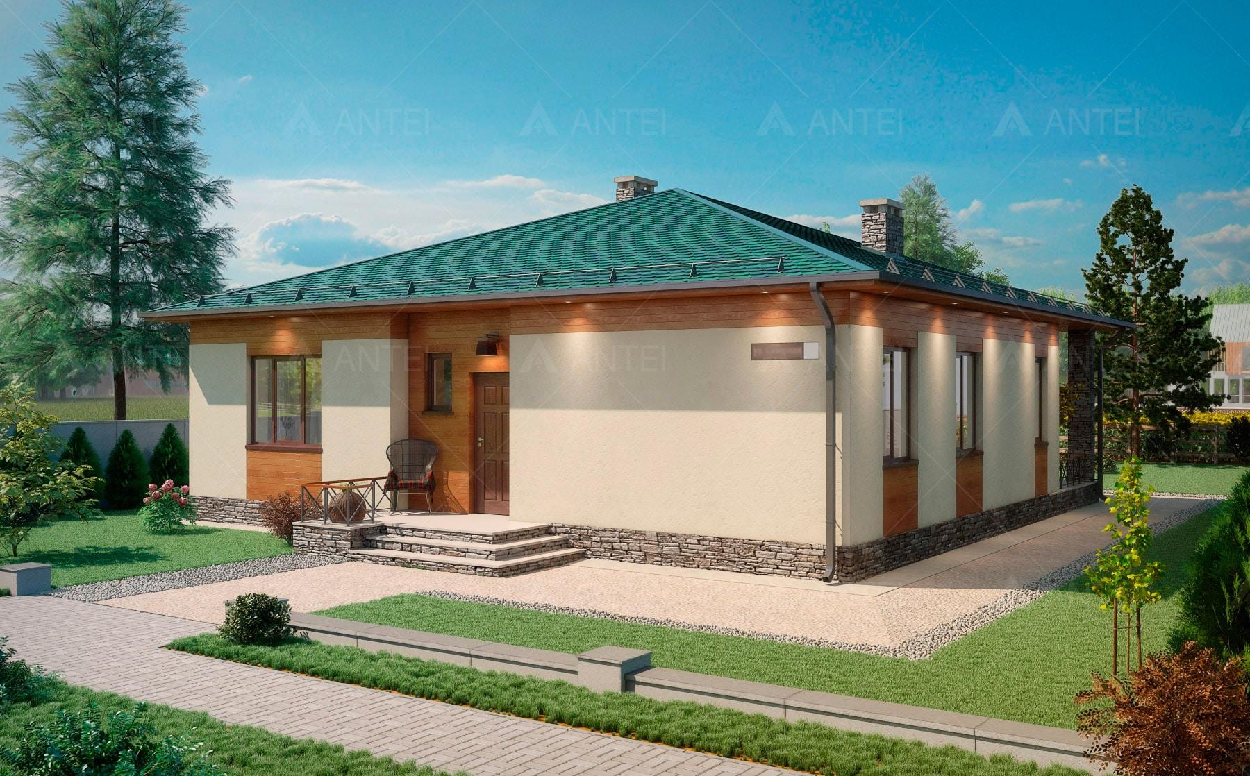 Проект одноэтажного дома с террасой «КО-67» - фото №1