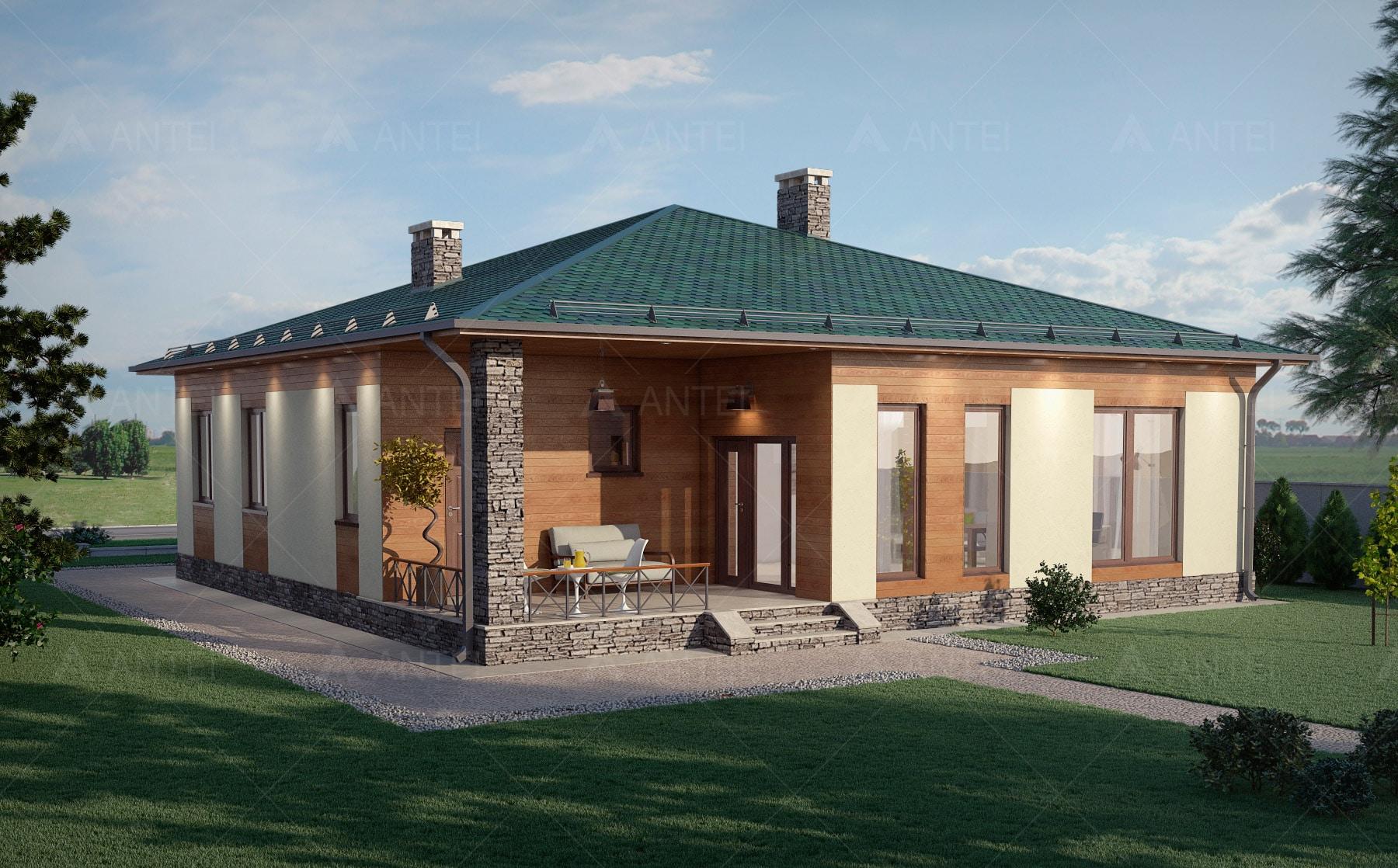 Проект одноэтажного дома с террасой «КО-67» - фото №2