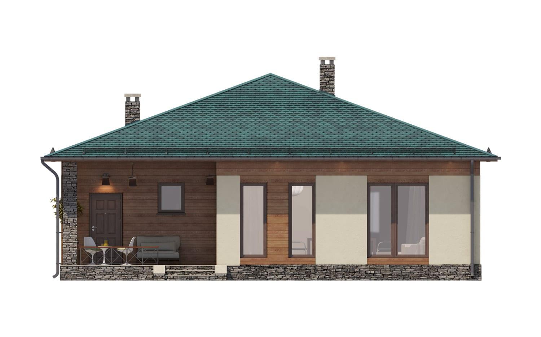 Фасад одноэтажного дома с террасой «КО-67» - сзади