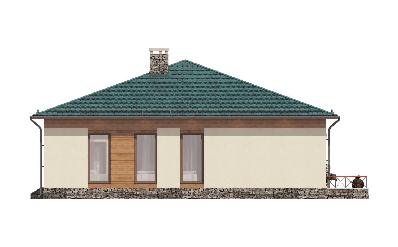 Фасад одноэтажного дома с террасой «КО-67» - слева