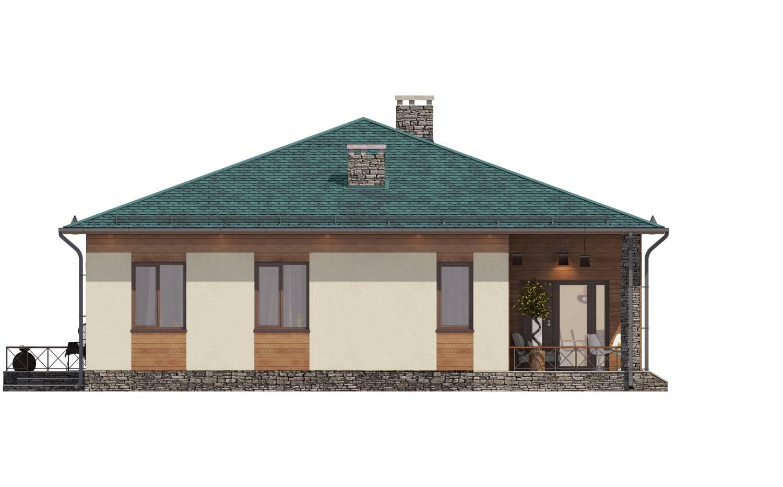 Фасад одноэтажного дома с террасой «КО-67» - справа