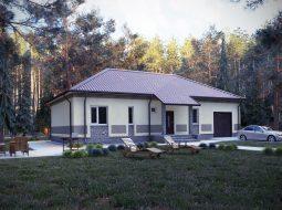 Проект одноэтажного дома с гаражом «КО-68»