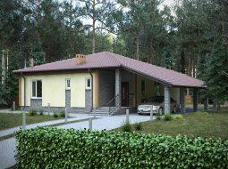 Проект одноэтажного дома с гаражом «КО-69»