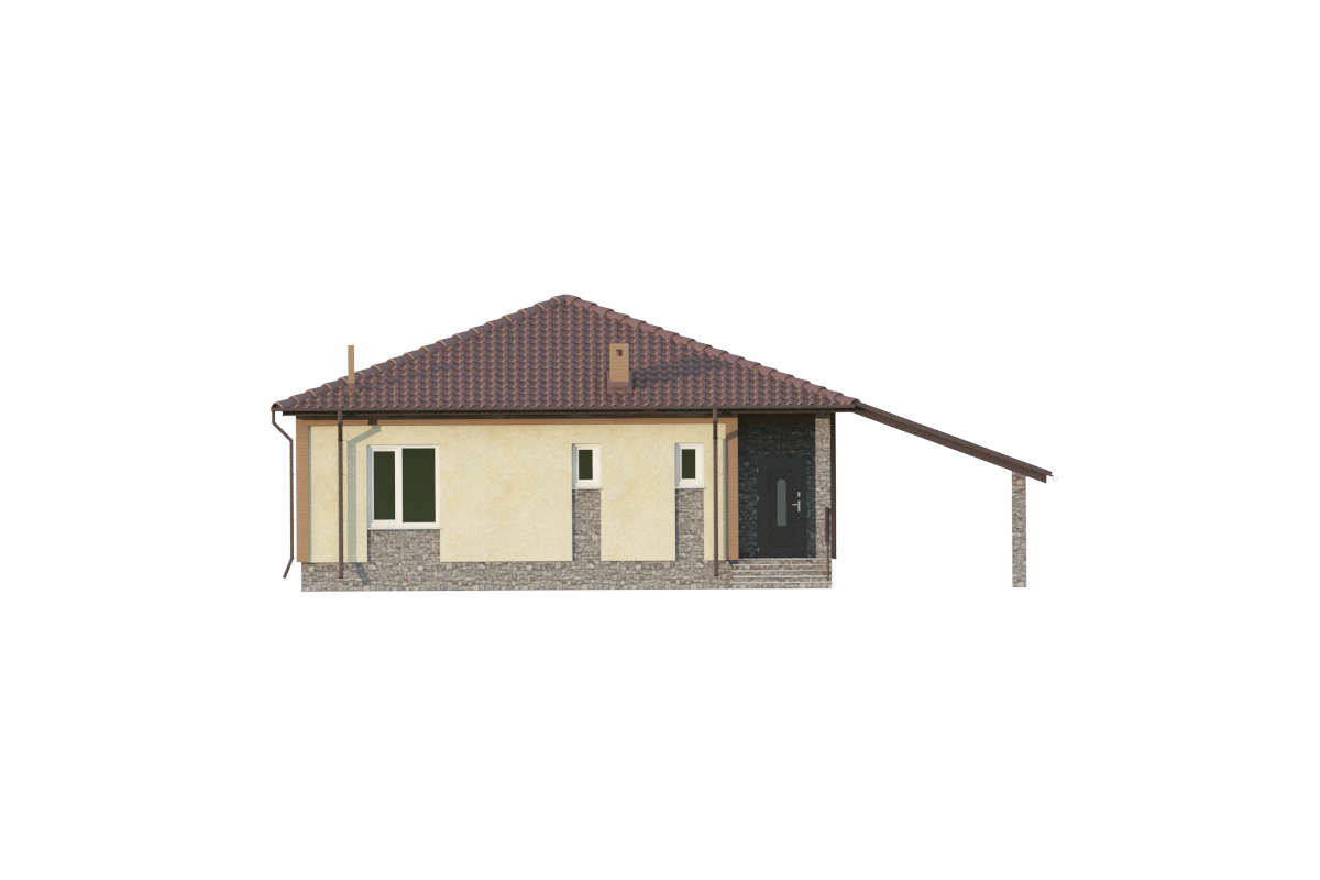 Фасад одноэтажного дома с гаражом «КО-69» - спереди