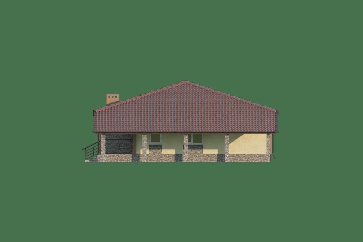 Фасад одноэтажного дома с гаражом «КО-69» - справа