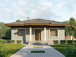 Проект одноэтажного дома с террасой «КО-7»