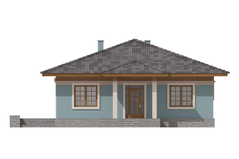 Фасад одноэтажного дома с террасой «КО-7» - спереди