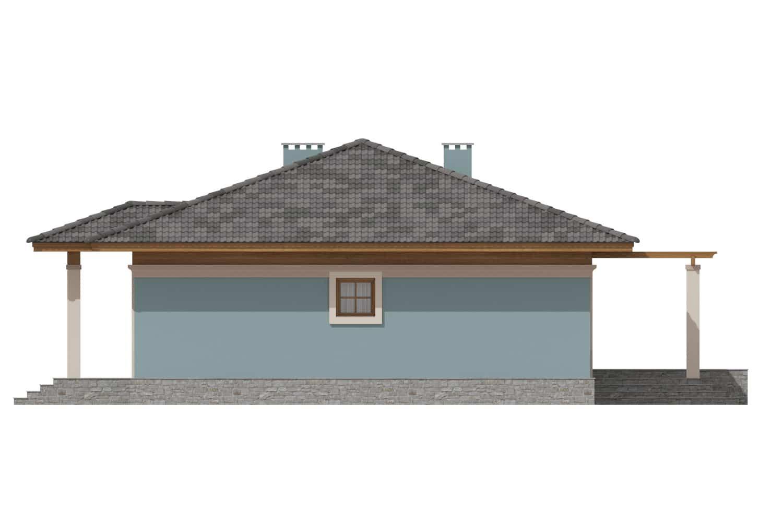 Фасад одноэтажного дома с террасой «КО-7» - слева