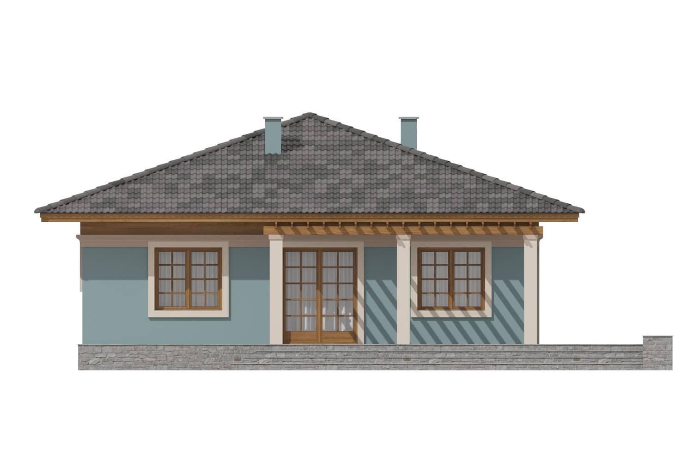 Фасад одноэтажного дома с террасой «КО-7» - сзади