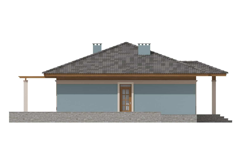 Фасад одноэтажного дома с террасой «КО-7» - справа