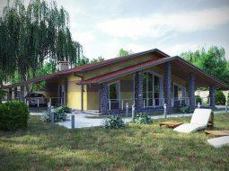 Проект одноэтажного дома с гаражом и террасой «КО-70»