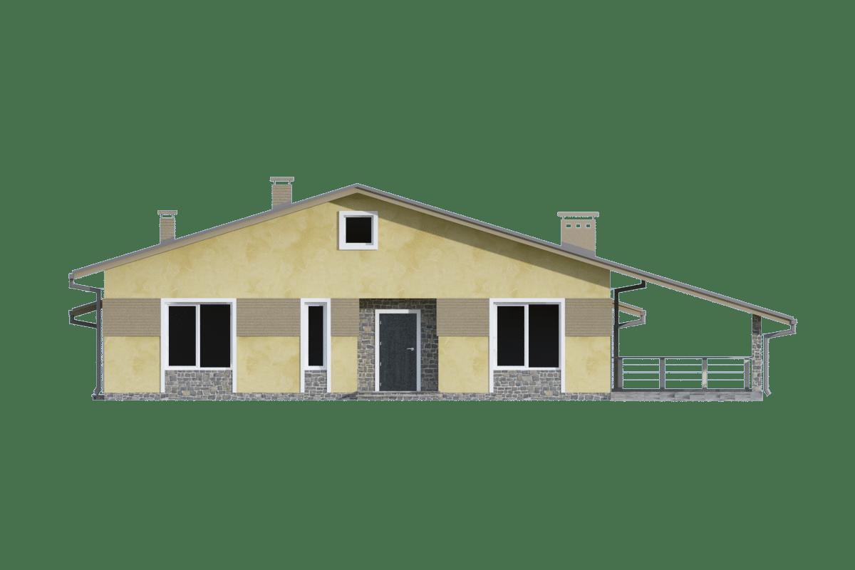 Фасад одноэтажного дома с гаражом и террасой «КО-70» - спереди