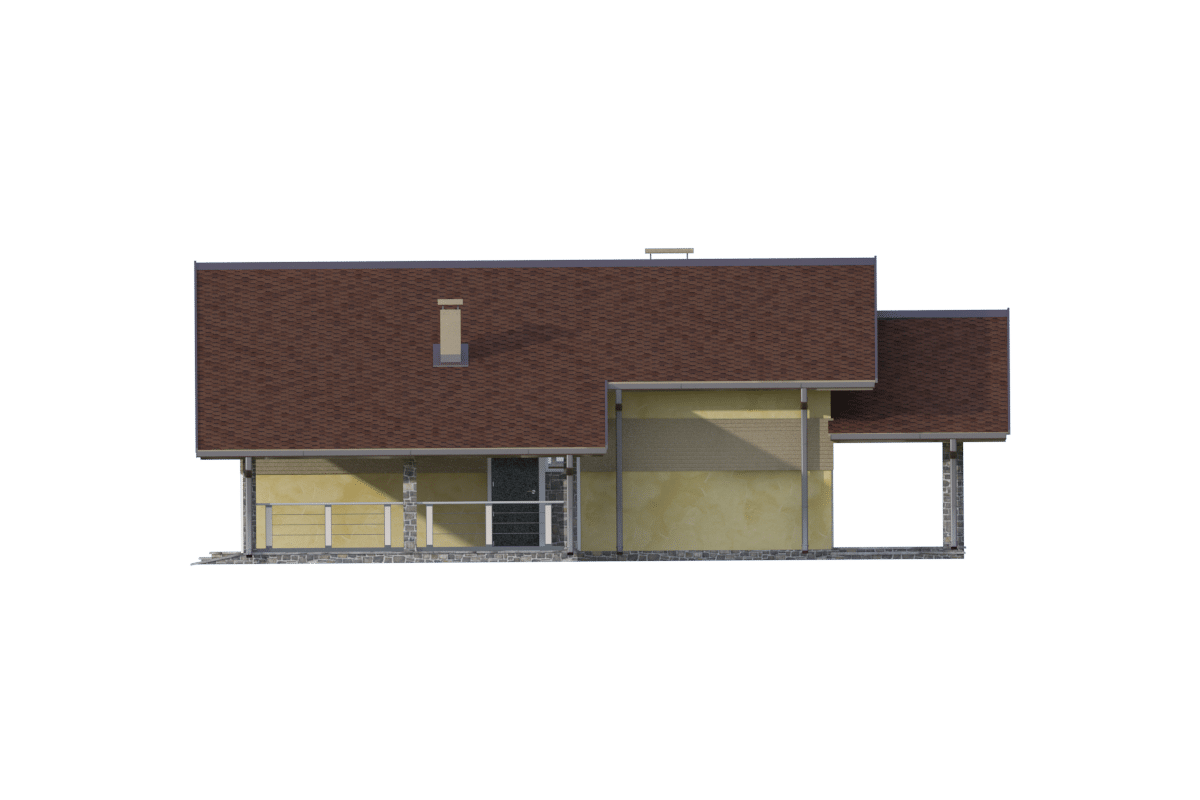Фасад одноэтажного дома с гаражом и террасой «КО-70» - справа