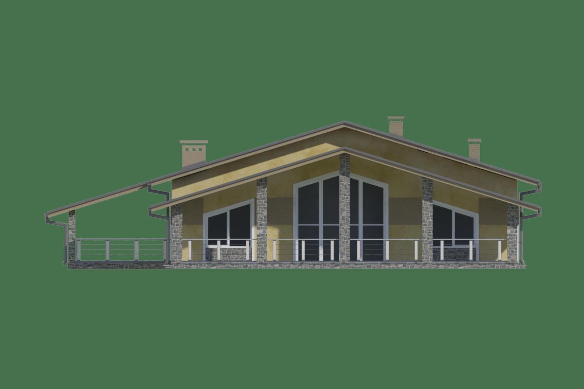 Фасад одноэтажного дома с гаражом и террасой «КО-70» - сзади
