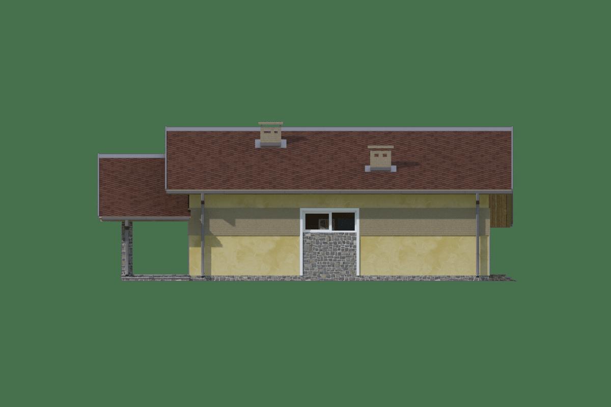 Фасад одноэтажного дома с гаражом и террасой «КО-70» - слева