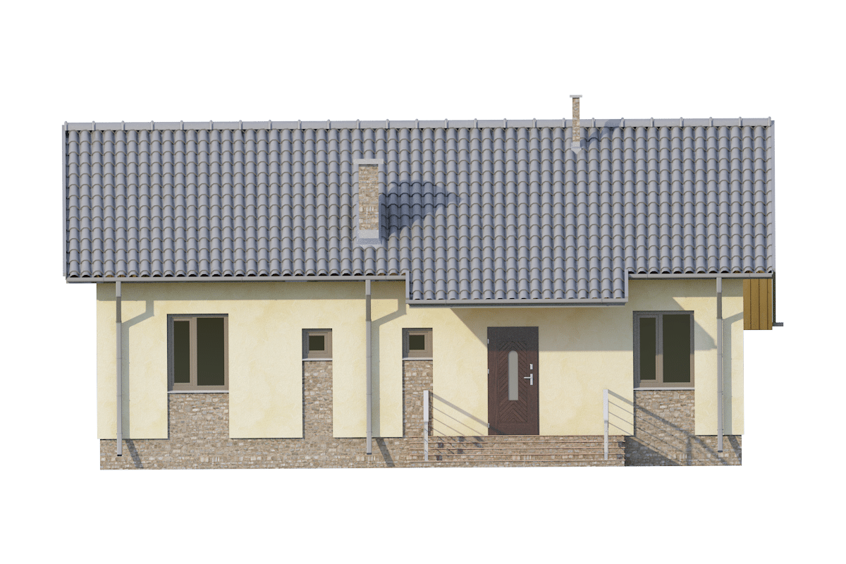 Фасад одноэтажного дома с террасой «КО-71» - спереди
