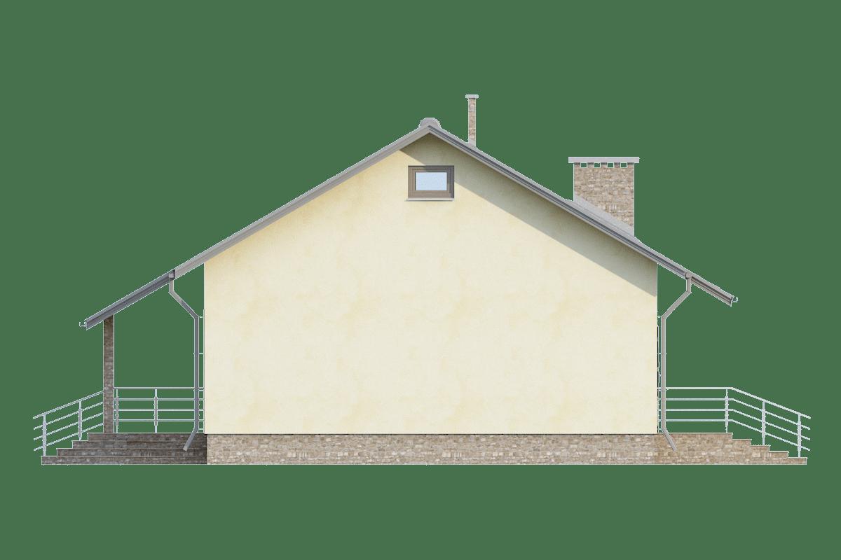 Фасад одноэтажного дома с террасой «КО-71» - слева