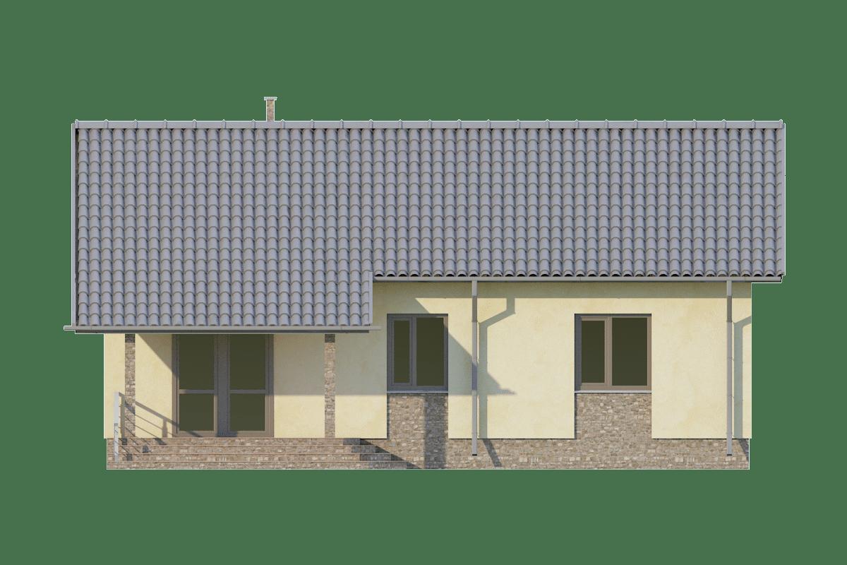 Фасад одноэтажного дома с террасой «КО-71» - сзади