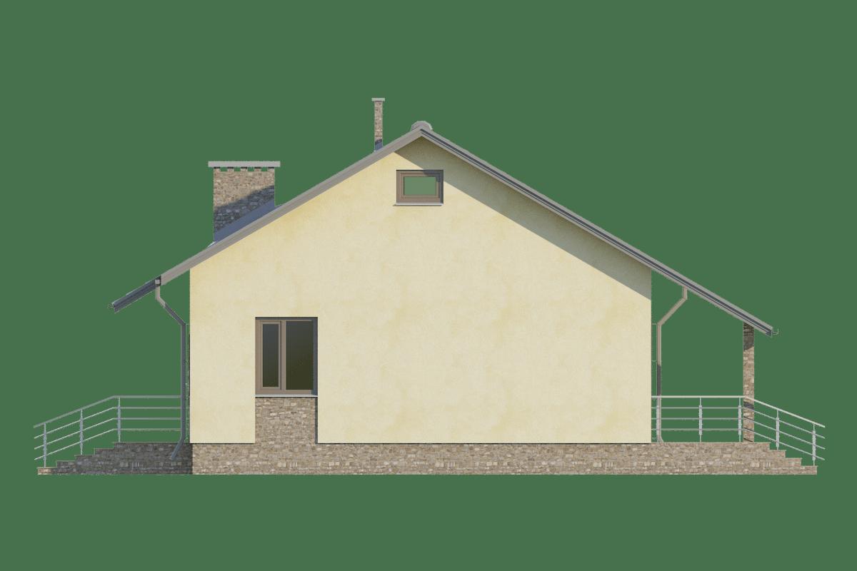Фасад одноэтажного дома с террасой «КО-71» - справа