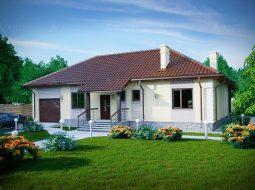 Проект одноэтажного дома с гаражом и террасой «КО-72»