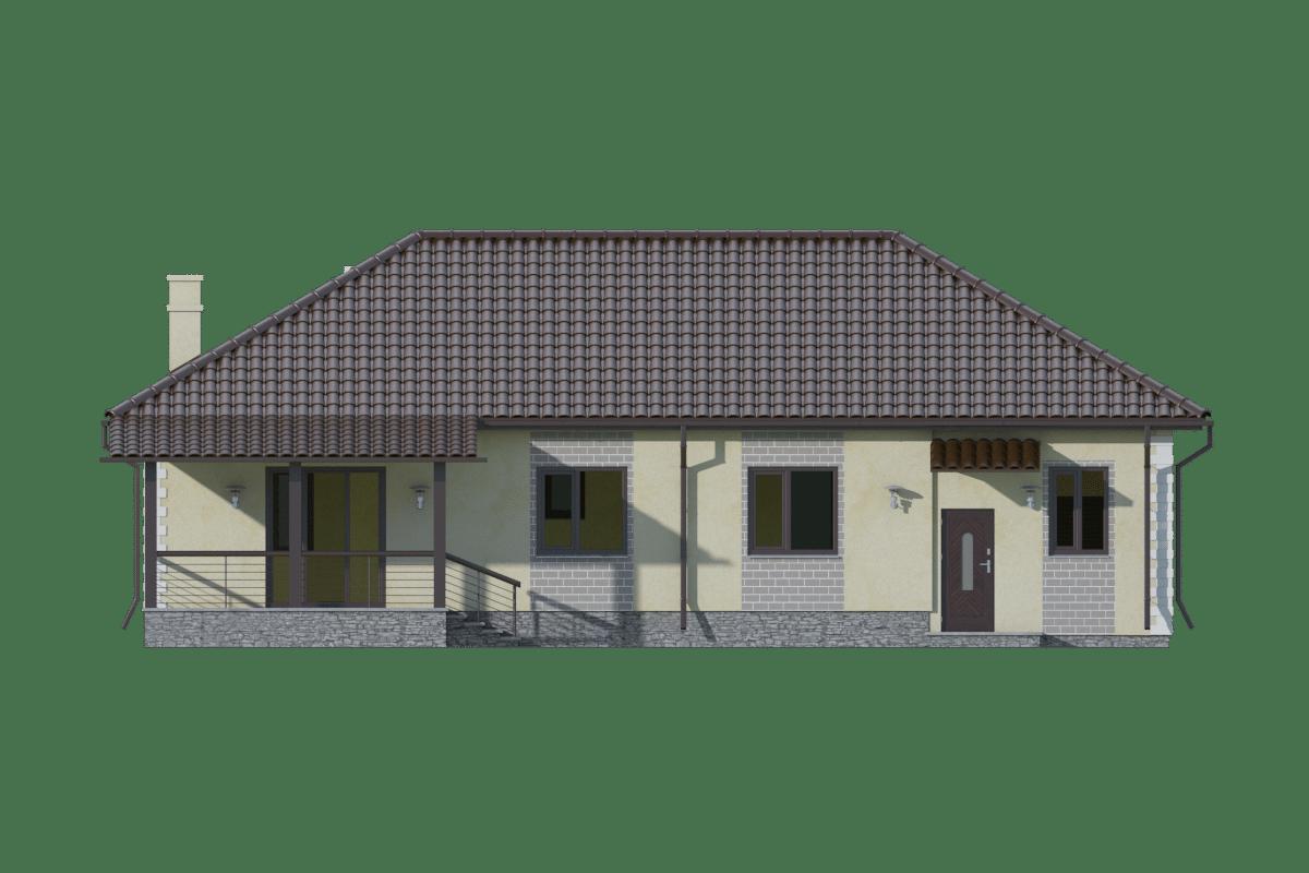 Фасад одноэтажного дома с гаражом и террасой «КО-72» - сзади