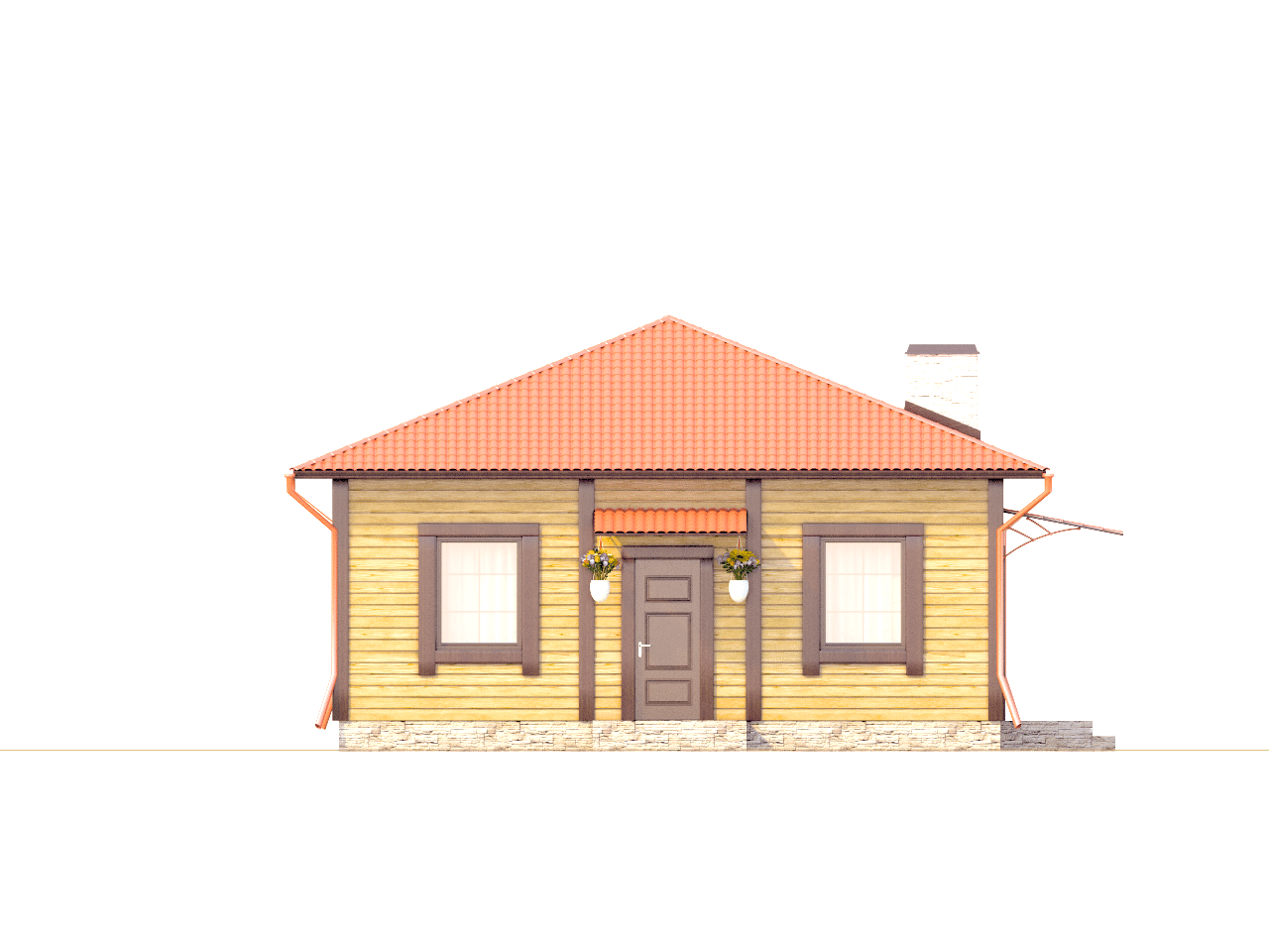 Фасад одноэтажного дома с террасой «КО-73» - спереди