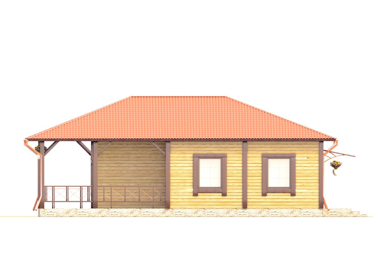 Фасад одноэтажного дома с террасой «КО-73» - слева