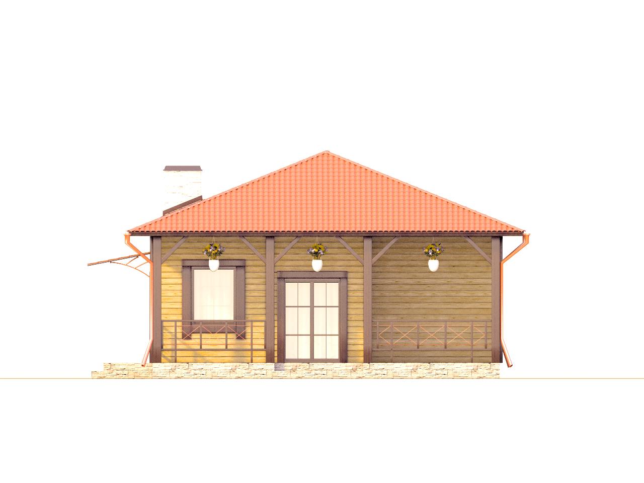 Фасад одноэтажного дома с террасой «КО-73» - сзади