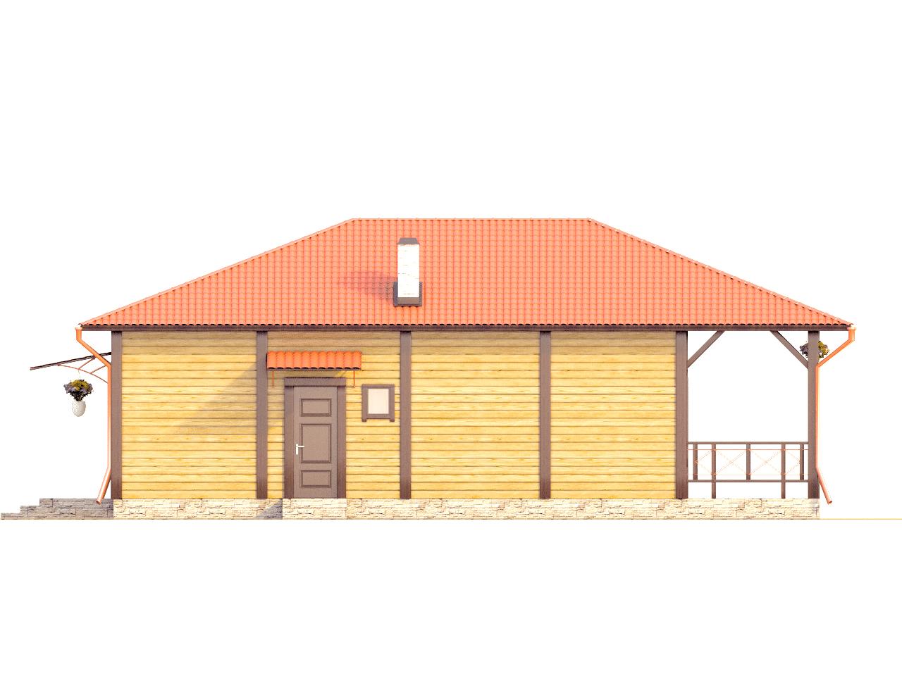 Фасад одноэтажного дома с террасой «КО-73» - справа