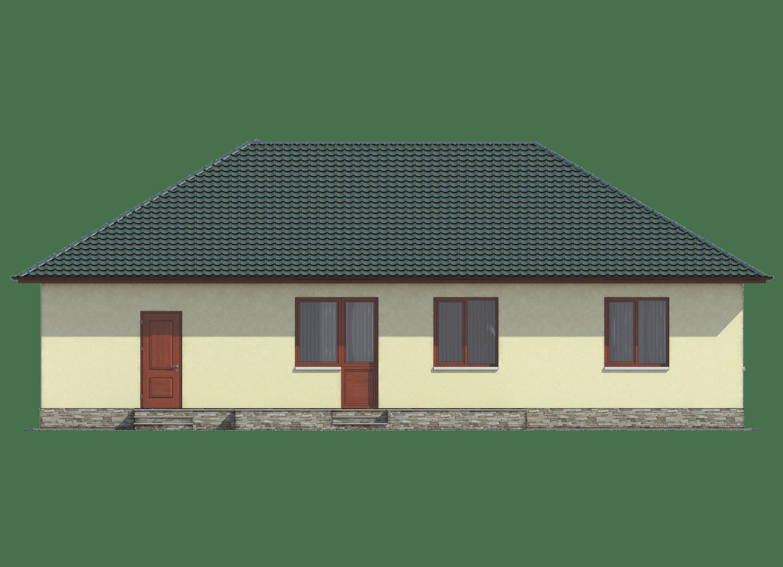 Фасад одноэтажного дома с гаражом и террасой «КО-26» - сзади