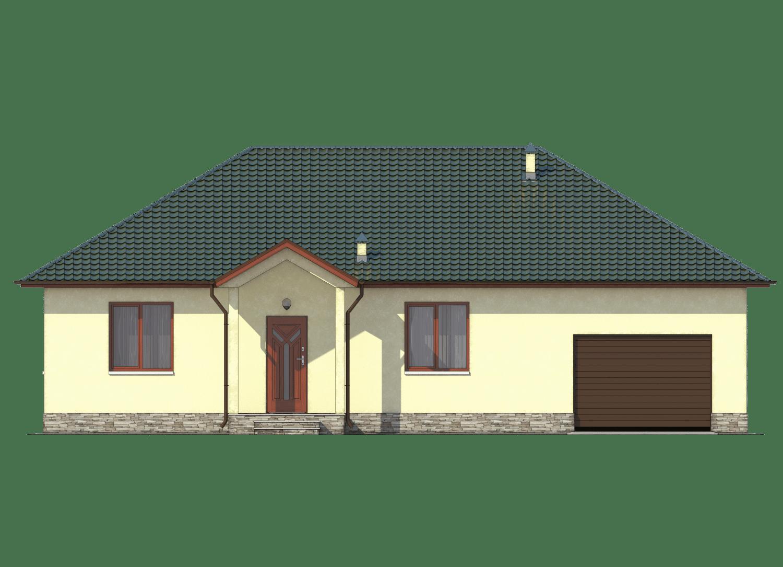 Фасад одноэтажного дома с гаражом и террасой «КО-26» - спереди