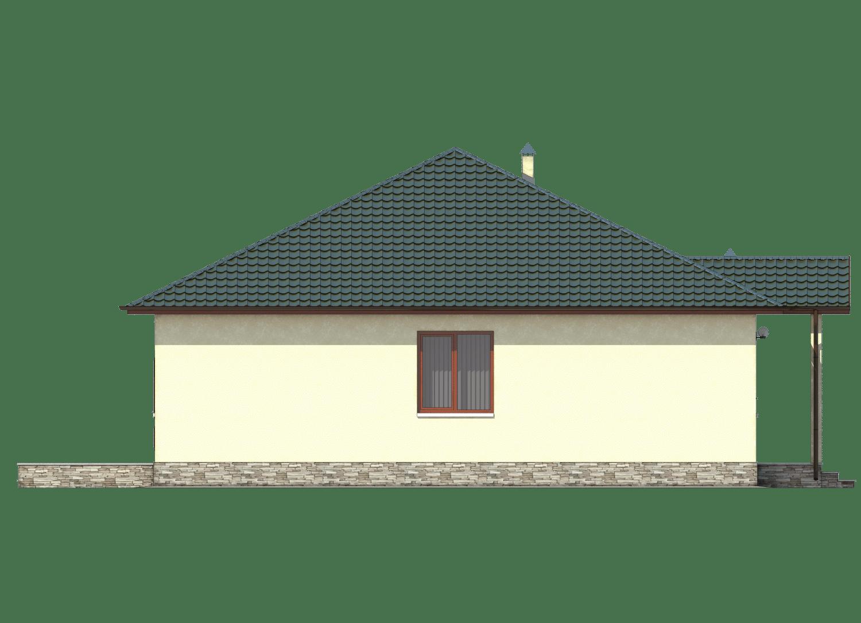Фасад одноэтажного дома с гаражом и террасой «КО-26» - слева
