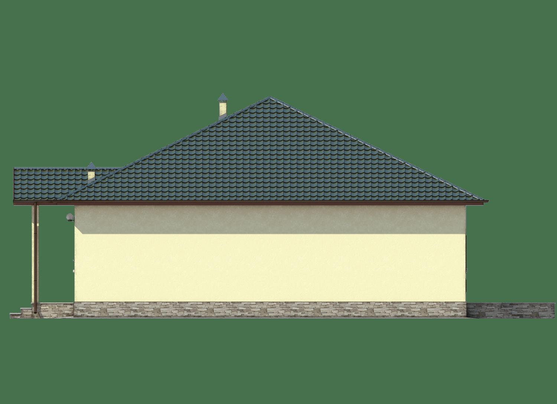 Фасад одноэтажного дома с гаражом и террасой «КО-26» - справа