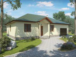 Проект одноэтажного дома с гаражом и террасой «КО-26»
