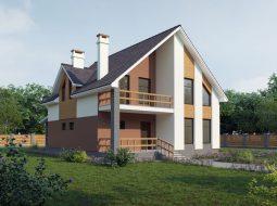 Проект мансардного дома с террасой и балконом «КМ-60»