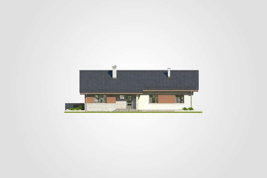 Фасад одноэтажного дома с террасой «КО-85» - спереди