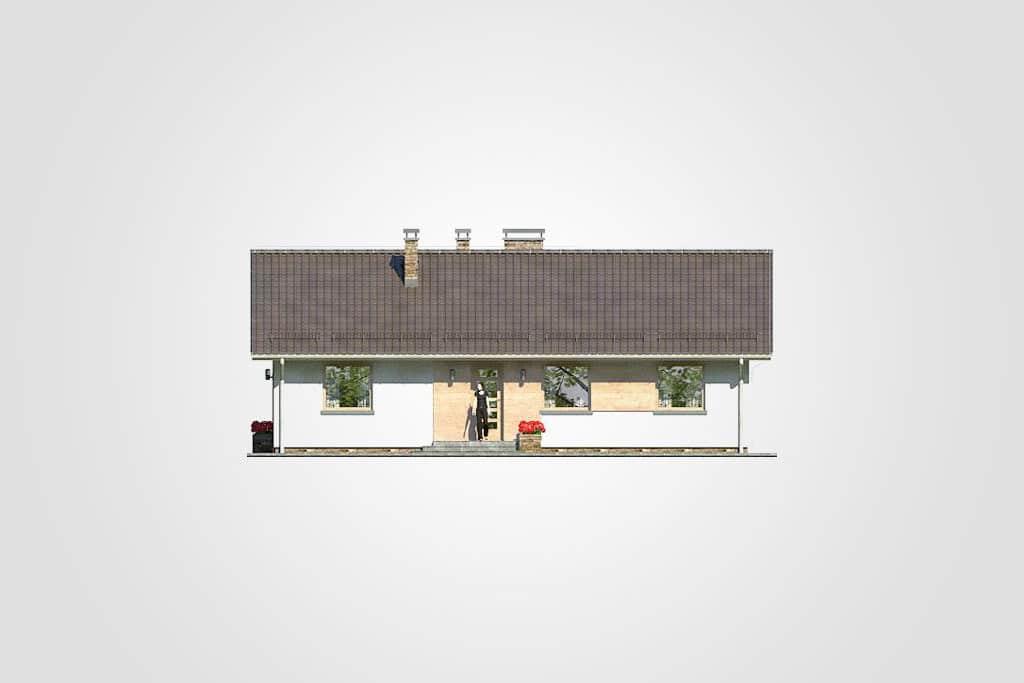 Фасад одноэтажного дома с террасой «КО-87» - спереди