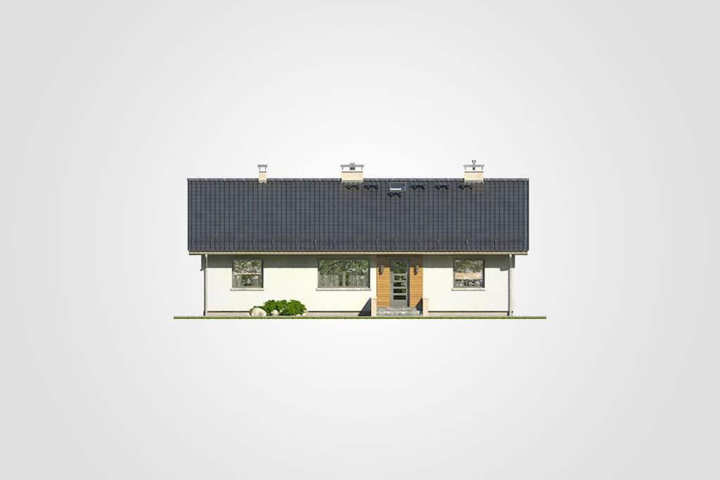 Фасад одноэтажного дома с террасой «КО-88» - спереди