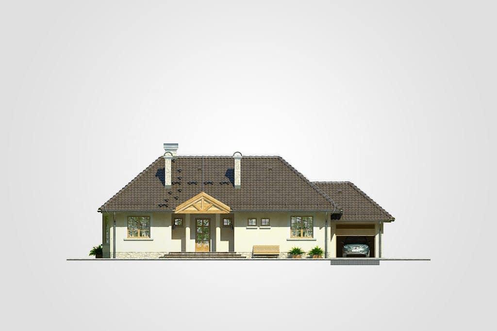 Фасад одноэтажного дома с гаражом и террасой «КО-90» - спереди