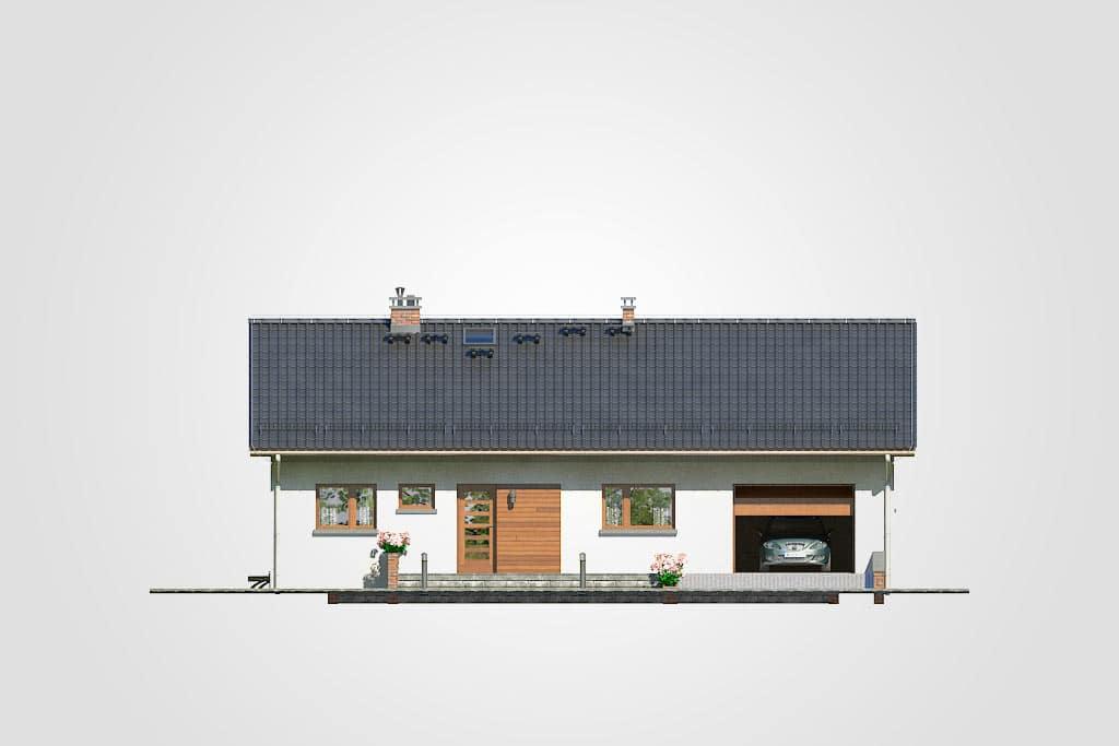 Фасад одноэтажного дома с гаражом и террасой «КО-91» - спереди
