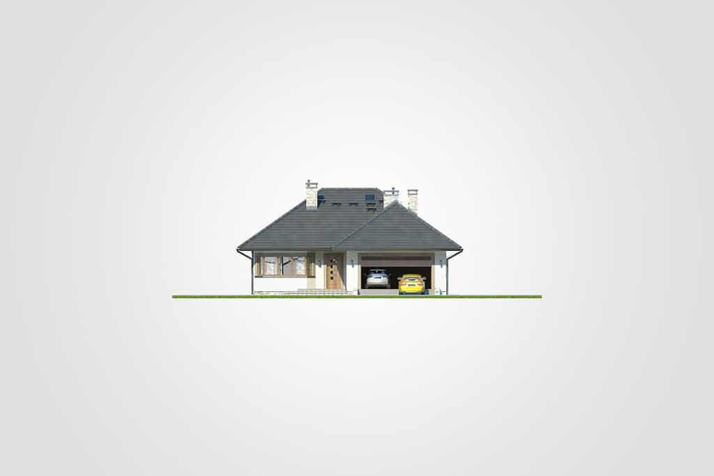 Фасад одноэтажного дома с гаражом и верандой «КО-92» - спереди