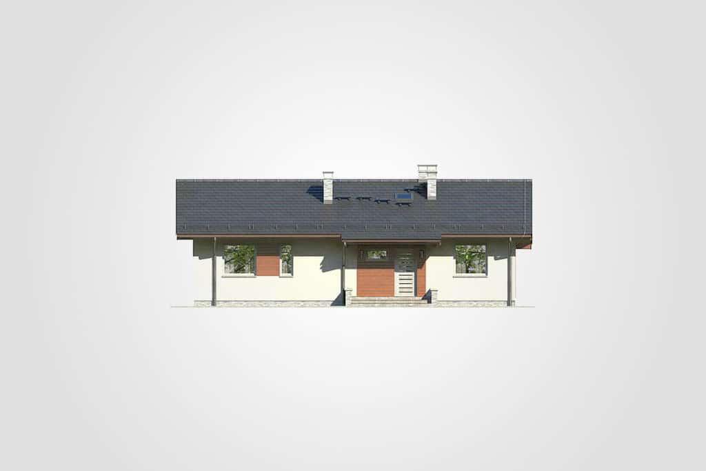 Фасад одноэтажного дома с террасой «КО-93» - спереди