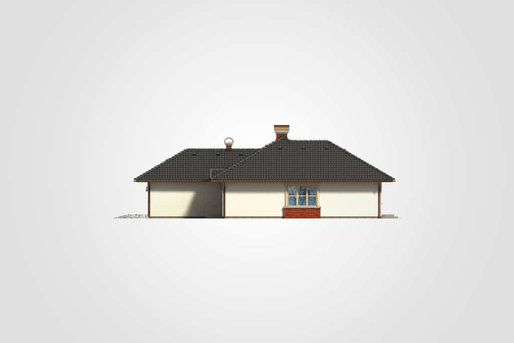 Фасад одноэтажного дома с гаражом и террасой «КО-96» - спереди