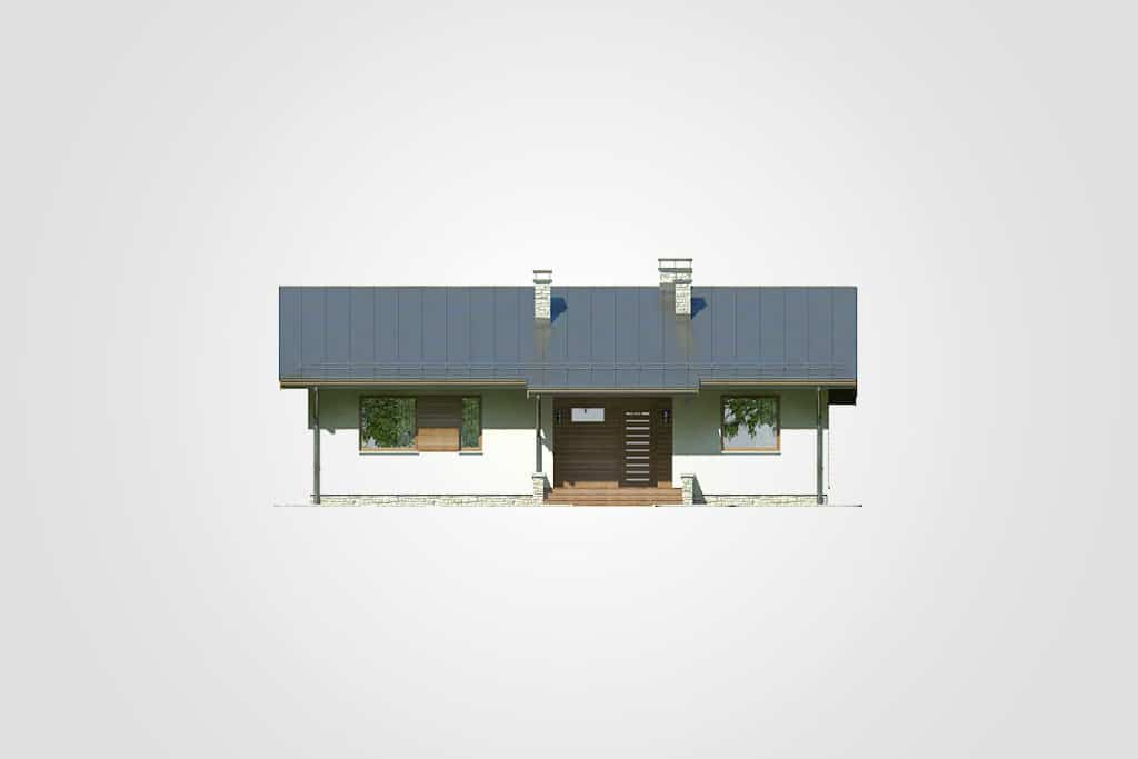 Фасад одноэтажного дома с террасой «КО-97» - спереди