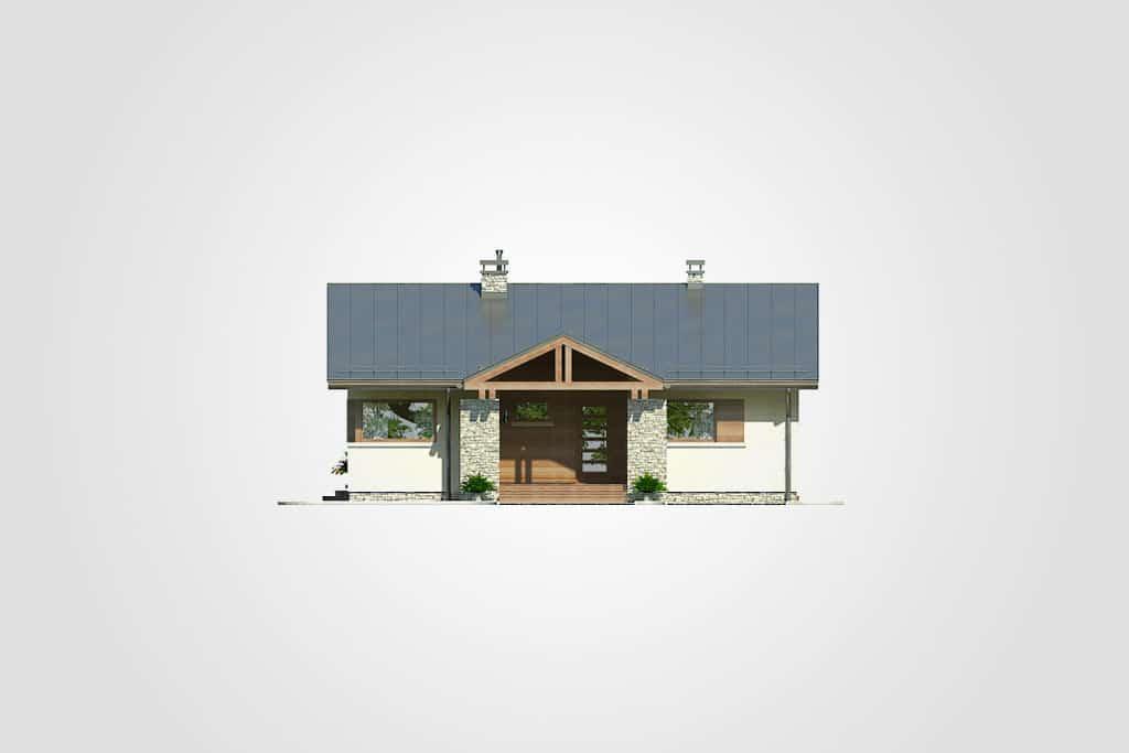Фасад одноэтажного дома с террасой «КО-98» - спереди